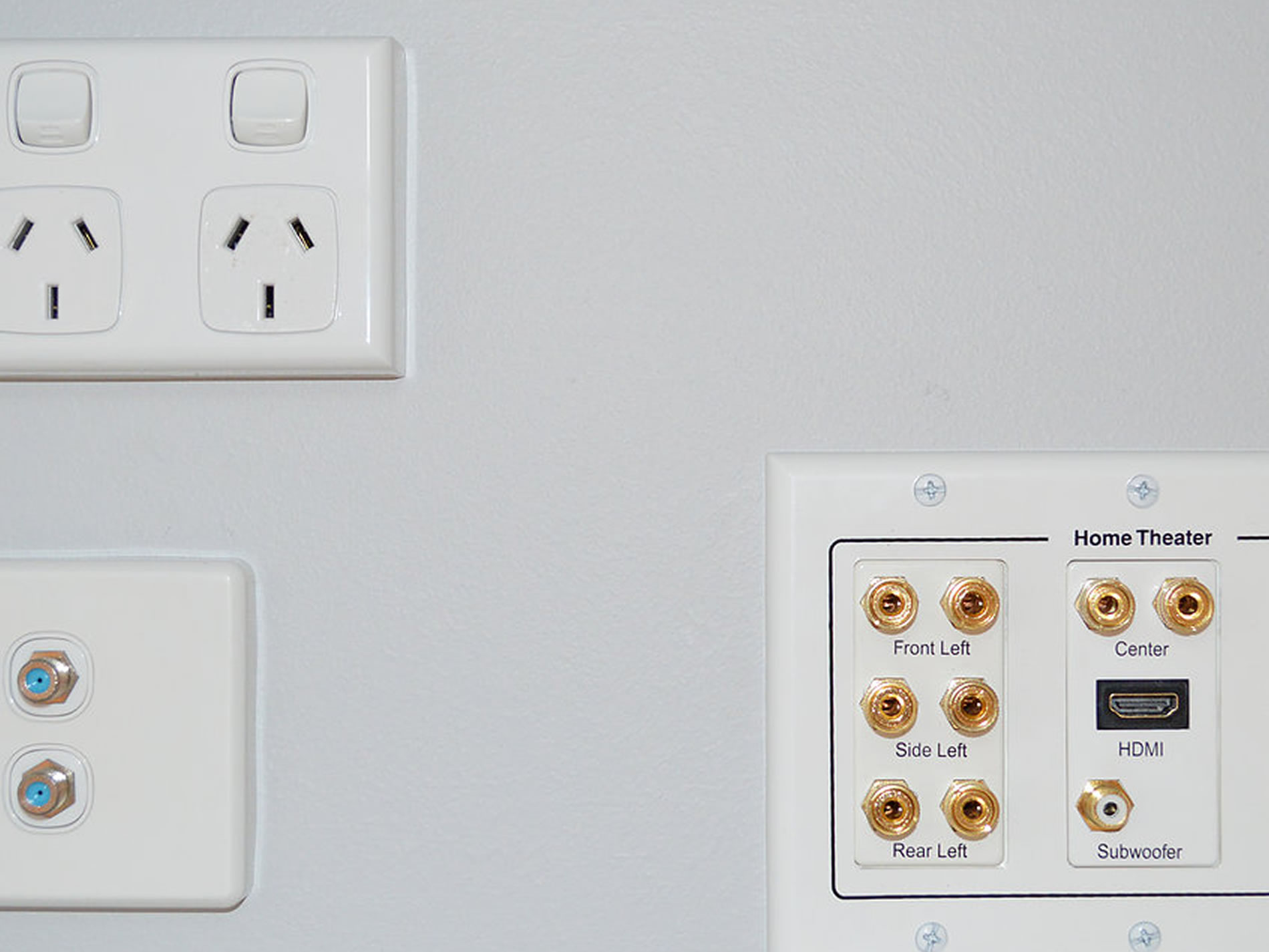 speaker coax hdmi wall plate connection fitting gold coast